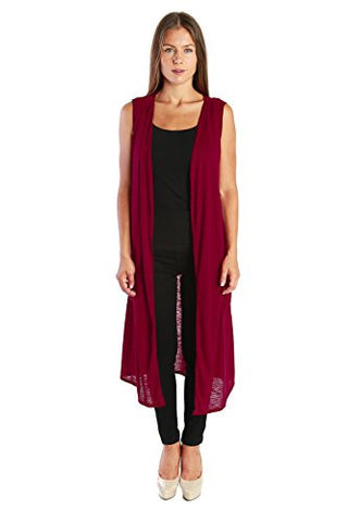 Nelly Aura Open Duster Sleeveless Long Cardigan Vest w/ Pockets - Burgundy - Large