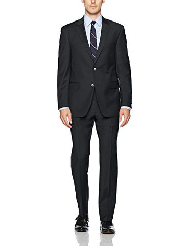 Tommy Hilfiger Men's Wool Stretch Ready to Wear Suit W/Hemmed Pant, Solid Charcoal, 46R