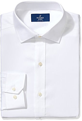 "Buttoned Down Men's Fitted Spread-Collar Non-Iron Dress Shirt, White, 16"" Neck 35"" Sleeve"