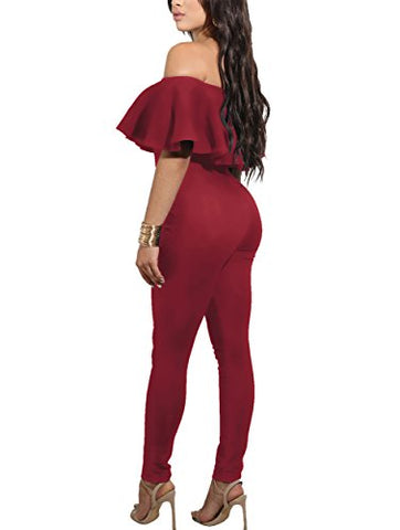 CoCo Fashion Off Shoulder Sleeve Hollow Out Sexy Women Bodycon Long Jumpsuit Rompers (Medium, 2186-Red)
