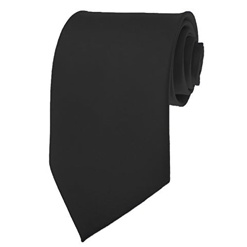 New Mens Solid Color Black Necktie Neck Tie