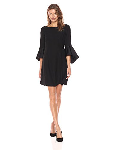 Adrianna Papell Women's Crepe-Back Satin with Ruffle Sleeve Dress, Black, 10