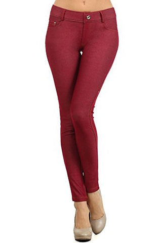 Yelete Womens Basic Five Pocket Stretch Jegging Tights Pants, Burgundy, Medium