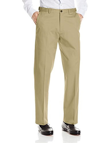 Haggar Men's Classic Fit Flat-Front Hidden Expandable Waistband Premium No Iron Khaki, 42W x 30L - British Khaki