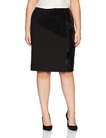 Calvin Klein Women's Plus Size Pencil Skirt with Suede and Pu, Black, 16W