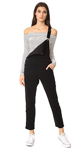 AG Adriano Goldschmied Women's the Leah Stretch Corduroy Overall, Super Black, Small