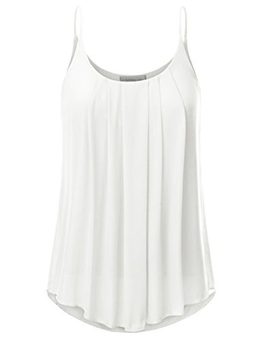 JJ Perfection Women's Pleated Chiffon Layered Cami Tank Top IVORY M