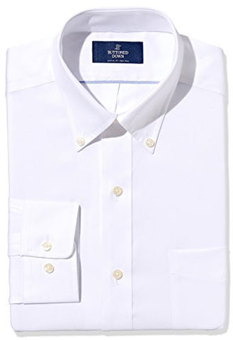"Buttoned Down Men's Classic Fit Button-Collar Non-Iron Dress Shirt, White, 18.5"" Neck 35"" Sleeve"