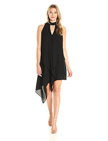 Maggy London Women's Cascade Swing Dress, Black, 10