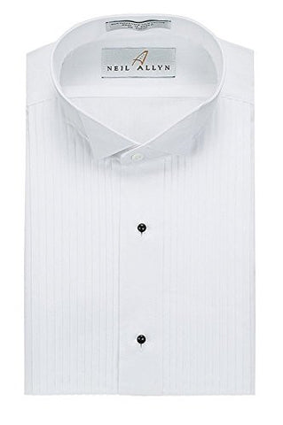 Neil Allyn Men's Tuxedo Shirt Poly/Cotton Wing Collar 1/4 Inch Pleat (17.5 - 34/35)