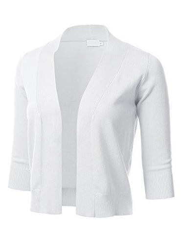 FLORIA Womens Classic 3/4 Sleeve Open Front Cropped Cardigan WHITE L