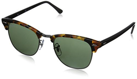 Ray-Ban CLUBMASTER - SPOTTED BLACK HAVANA Frame GREEN Lenses 51mm Non-Polarized