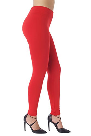 Warm Fleece Lined Leggings - Ultrasoft Premium - High Waisted Slimming - 10 Colors Conceited (S/M (0-10), Red)