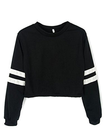 Joeoy Women's Casual Striped Long Sleeve Crop Top Sweatshirt Black-S