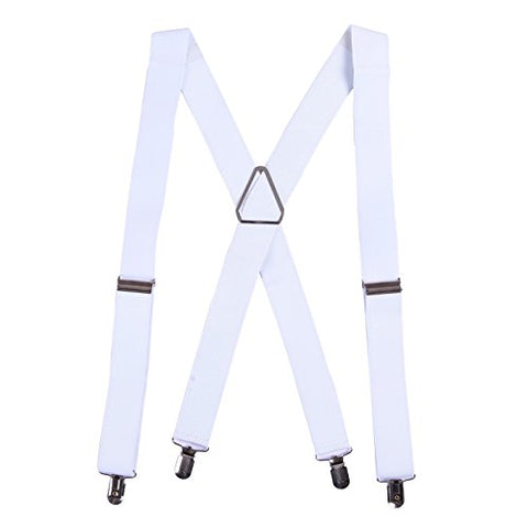 "HDE Men's X-Back Clip Suspenders Adjustable Elastic Shoulder Strap - 1.5"" Wide (White)"