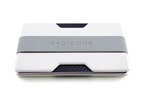 Radix One Slim Wallet (White/Gray) - Minimalist Front Pocket Ultralight Thin Polycarbonate Wallet Money Clip