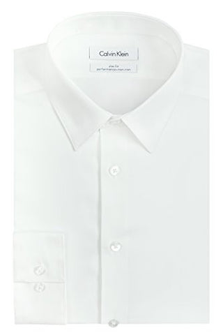 "Calvin Klein Men's Slim Fit Non-Iron Herringbone Point Collar Dress Shirt, White, 16.5"" Neck 32""-33"" Sleeve"