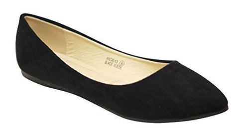 Bella marie Angie-53 Women's Classic Pointy Toe Ballet PU Slip On Suede Flats Black 9