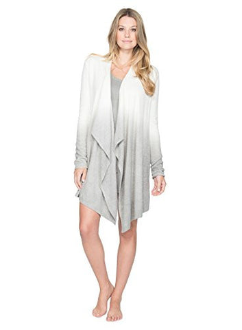 Barefoot Dreams Women's Bamboo Lite Calypso Wrap (Ombre Pearl/Pewter, Small / Medium)