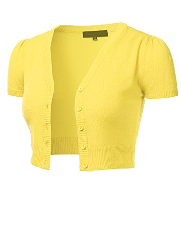 FLORIA Womens Button Down Short Sleeve Cropped Bolero Cardigan Sweater BABYYELLOW L