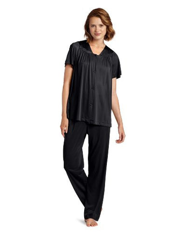 Vanity Fair Women's Plus Size Coloratura Sleepwear Short Sleeve Pajama Set 90807, Midnight Black, 1X-Large