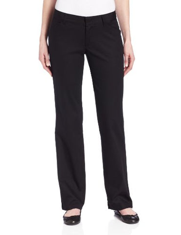 Dickies Women's Relaxed Fit Straight Leg Twill Pant, Black, 6 Short