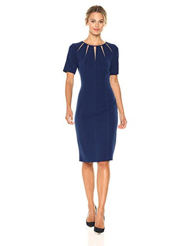 Adrianna Papell Women's Stretch Crepe Spliced Sheath, Navy Sateen, 10