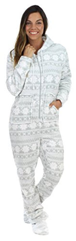SleepytimePjs Women's Fleece Onesie Hooded Footed Pajamas Grey Snowflake – (ST17-W-3020-SML)