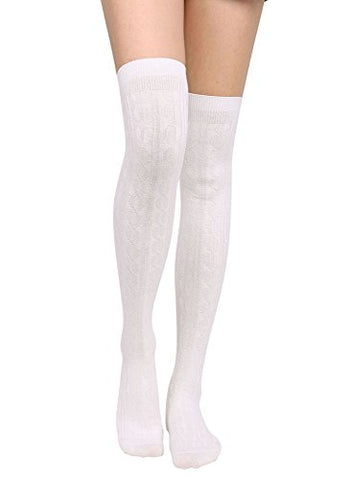 Knee High Socks Women's Cable Knit Winter Thigh High Stockings,White
