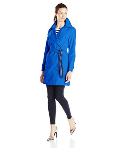 Tommy Hilfiger Women's Double-Breasted Trench Coat, Nautical Blue, Large