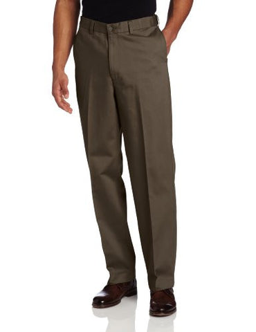 Savane Mens Big & Tall Wrinkle Free Flat Front Twill Pant, Shale, 44x28