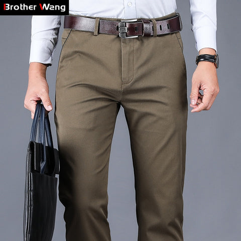 4 Colors 98% Cotton Casual Pants Men 2020 New Classic Style Straight Loose High Waist Elastic Trousers Male Brand Clothes