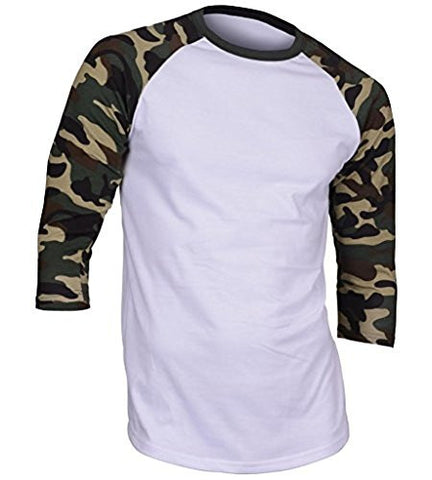 Dream USA Men's Casual 3/4 Sleeve Baseball Tshirt Raglan Jersey Shirt Dark Camo Large
