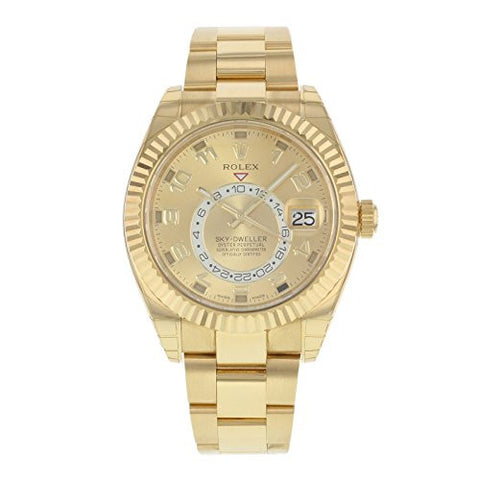 Rolex Sky-dweller Champagne Arabic Dial Yellow Gold Men's Watch 326938