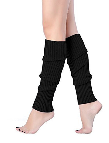 V28Women Winter Warm Leg Warmers Knitted Long Socks (one size, Black)