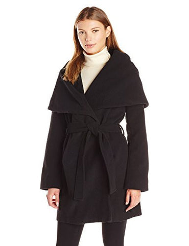 T Tahari Women's Marla Wool Coat with Oversized Collar New Name: Marylin, Black, S