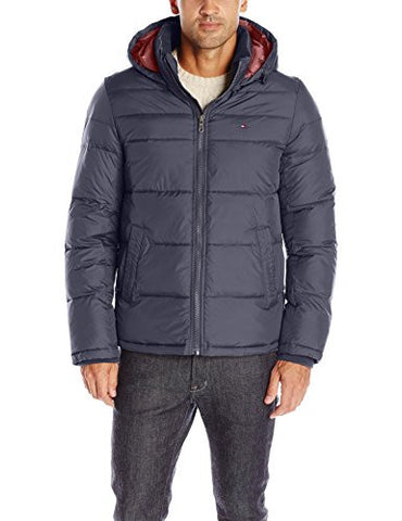 Tommy Hilfiger Men's Ultra Loft Insulated Midlength Quilted Puffer Jacket with Fixed Hood, Midnight, S