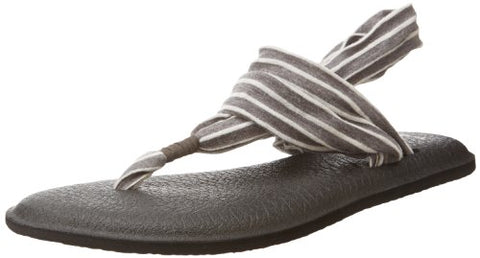 Sanuk Women's Yoga 2 Prints Flip Flop,Charcoal/Natural Stripes,8 M US
