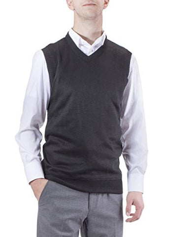 J.Korn Men's Solid Color V-Neck Sweater Vest SVS50 (XXXLarge Black)