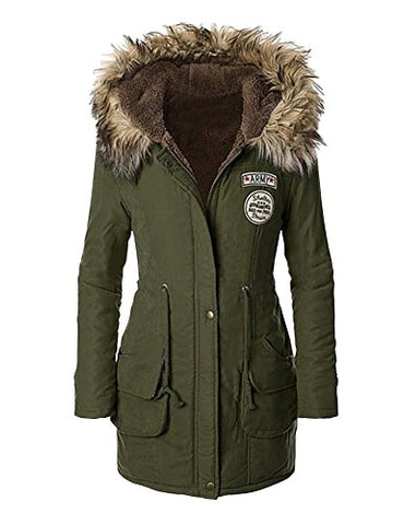 Womens Winter Warm Hooded Faux Fur Lined Parka Jacket Drawstring Long Coats Army Green M