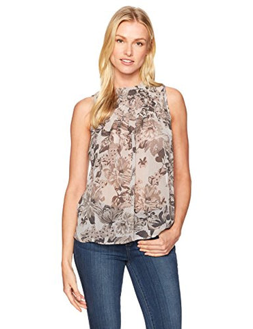 Lucky Brand Women's Grey Floral Tucked Tank Top, Grey/Multi, Large