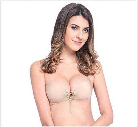 Meinaier Invisible Self Adhesive Strapless Backless Push Up Bra, Cup size B, Beige