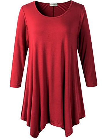 Lanmo Women Plus Size 3/4 Sleeve Tunic Tops Loose Basic Shirt (2X, Wine Red)