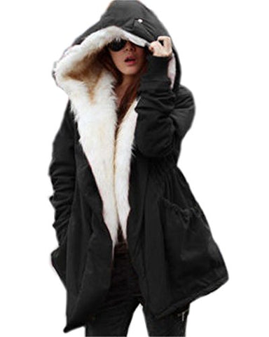 Roiii Women Military Winter Casual Outdoor Coat Hoodie Jacket Long Trench Parkas (Large / 10, Black)
