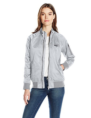 Members Only Women's Iconic Boyfriend Jacket with Satin Finish, Silver, L