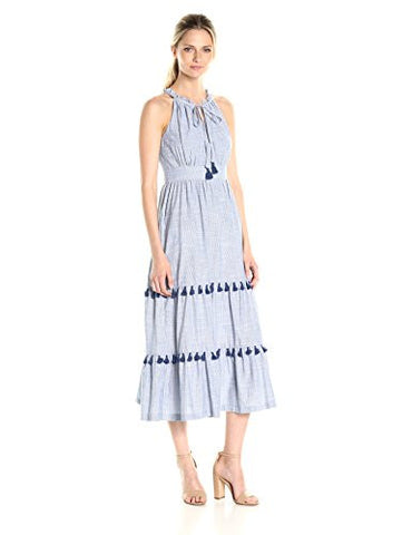 Maggy London Women's Thick and Thin Tiered Halter Dress, Chambray, 6
