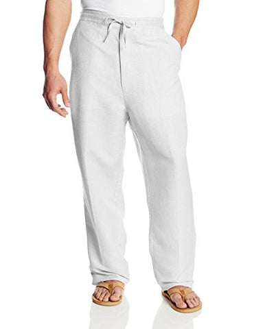 Cubavera Men's Big-Tall Linen Blend Flat Front Drawstring Pant, Bright White, 3X Big/30 Large