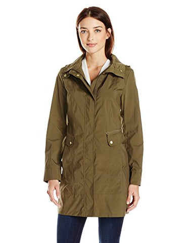 Cole Haan Women's Single Breasted Packable Rain Jacket with Removable Hood, Seaweed, XL