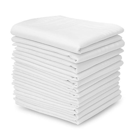 EcoHanky 100% Cotton Men's Handkerchiefs with Hem White 12 Pieces