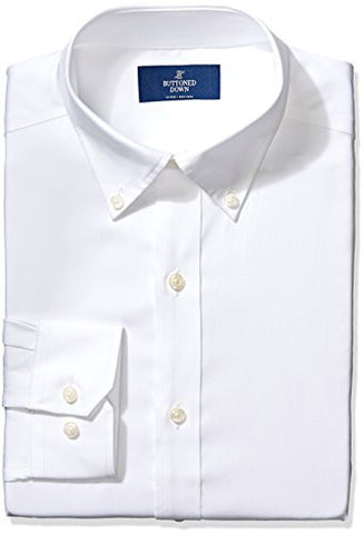 "Buttoned Down Men's Fitted Button-Collar Non-Iron Dress Shirt, White, 19"" Neck 34"" Sleeve"
